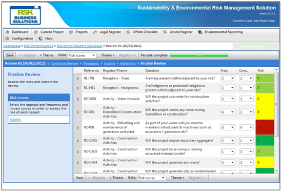RSK Business Solutions environmental risk management tool