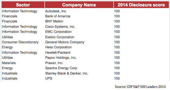 S&P 500 climate leaders
