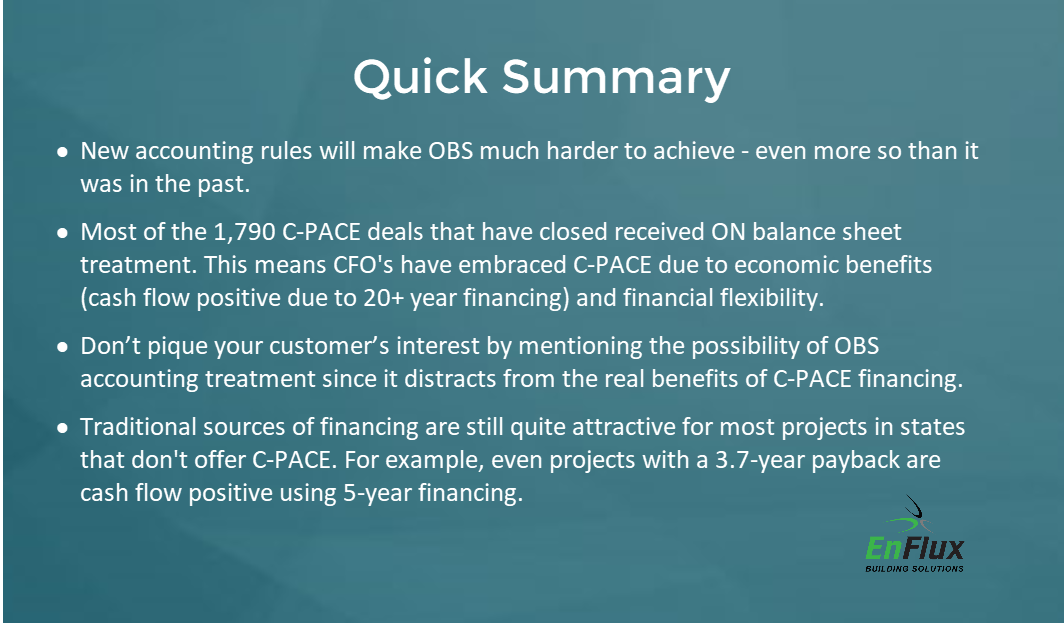 Off Balance Sheets Financial Structures Are Popular For C Pace